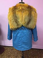 Парка с мехом шикарной канадской лисы,внутри мех лисы в роспуск, длина 85см,, фото 1