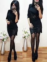 """Черный костюм с юбкой """"Ромбы"""", фото 1"""