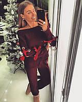 Костюм Doratti вязаный свитер и брюки декорирован люверсами и атласной лентой -бантом разные цвета Ddor284