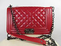 Клатч женский Шанель Бой, реплика, большой, красный