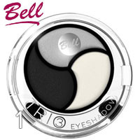 Bell - Тени для век 3-цветные Trio EyeShadows Тон 01 черные, белые, серые сатин