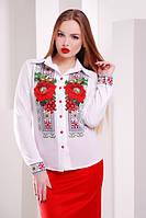 Белая женская блузка с маками