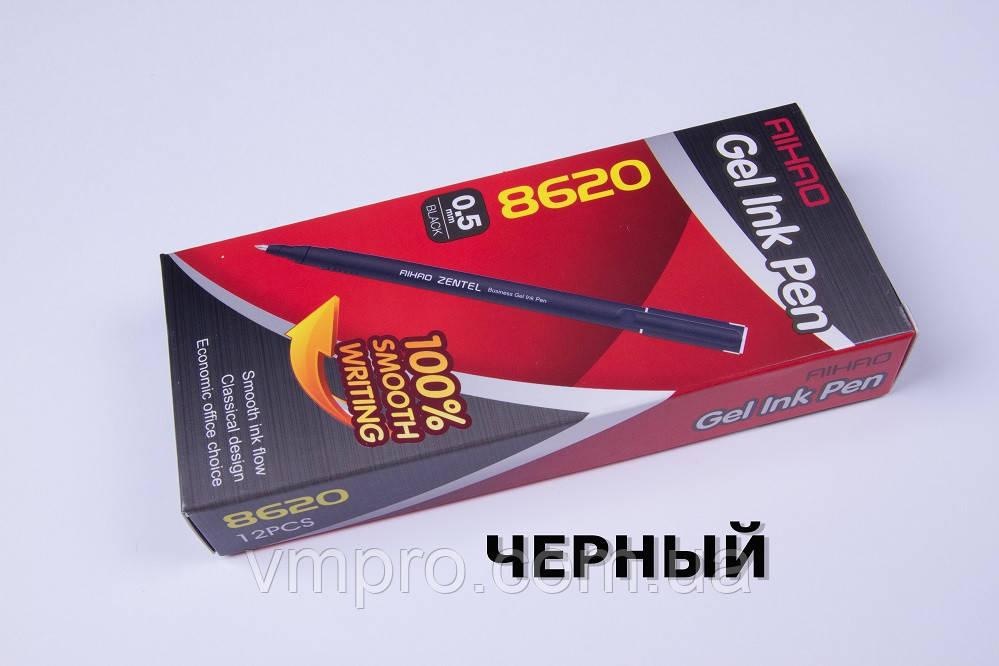Ручки гелевые AIHAO AH-8620,Zentel,чорные,0.5mm,12 шт/упаковка, фото 1