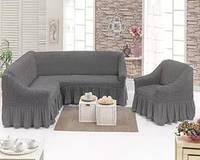 Чехол- покрывало на угловой диван и кресло серый MILANO  и еще 15 расцветок