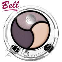 Bell - Тени для век 3-цветные Trio EyeShadows Тон 02 серые, кремовые, фиолет сатин