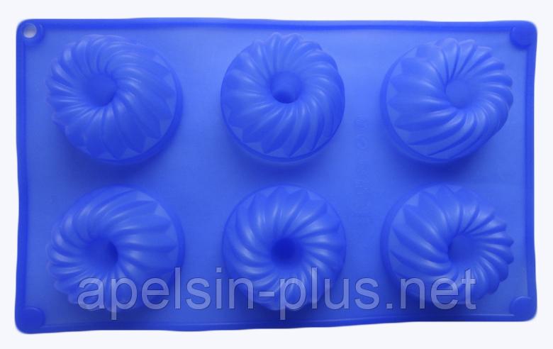 Силиконовая форма для выпечки Кексы с втулкой на 6 ячеек