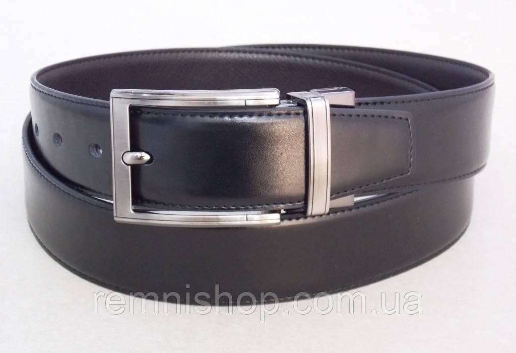 Ремень двухсторонний кожаный  Alon черный / коричневый