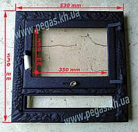 Дверка чугунная для камина с жаропрочным стеклом, фото 1