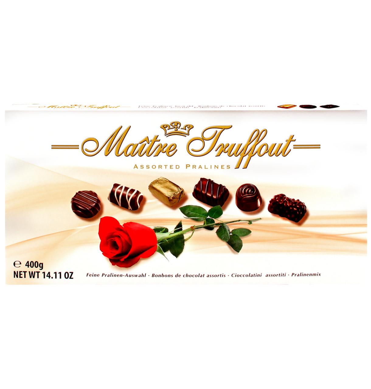 Шоколадные конфеты в коробке Maitre Truffout Assorted Pralines Rose с пралине, 400 гр.