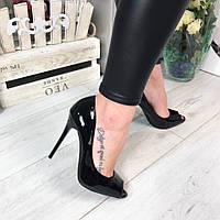Женские лодочки лаковые, цвет черный/ женские туфли каблук 10,5см, модные