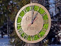 Эко-часы из стабилизированного мха (ягель) с логотипом Вашей фирмы или др.надписью, диаметром 50 см.