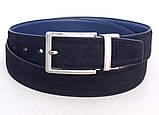 Замшевый ремень двухсторонний ALON черный синий, фото 3