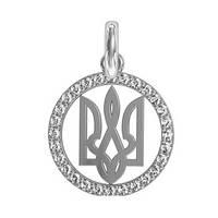 Подвеска серебряная Герб Украины,Тризубец с Камнями 411070