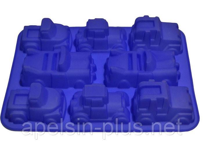 Силиконовая форма для выпечки Машины грузовые на 8 ячеек