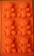 Силиконовая форма для выпечки Мишки Барни на 6 ячеек