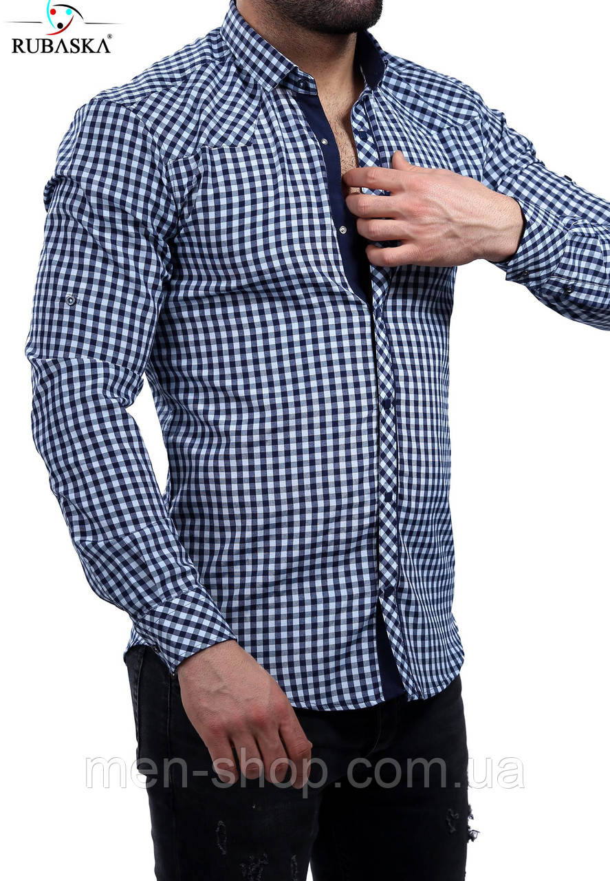 Рубашка мужская серого цвета в клетку