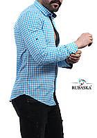 Рубашка мужская голубого цвета в клетку, фото 1