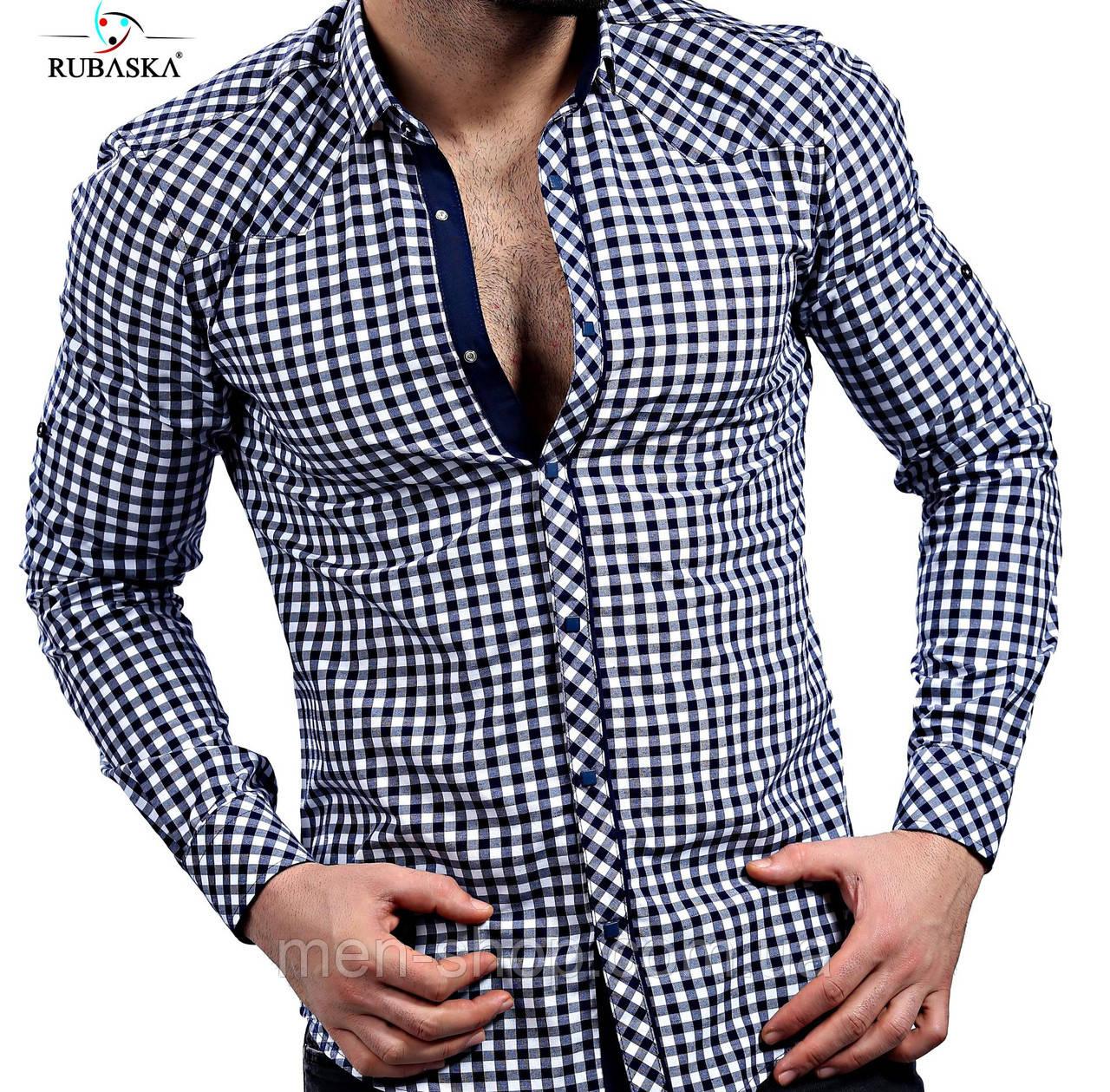 Молодежная рубашка серого цвета в клетку
