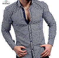 Молодежная рубашка серого цвета в клетку, фото 1
