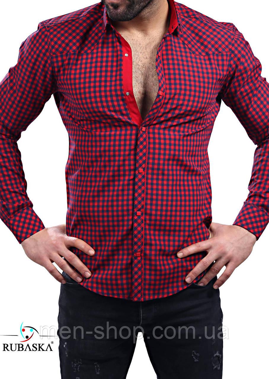 Молодежная рубашка красного цвета в клетку