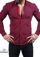 Молодежная рубашка красного цвета в клетку, фото 1