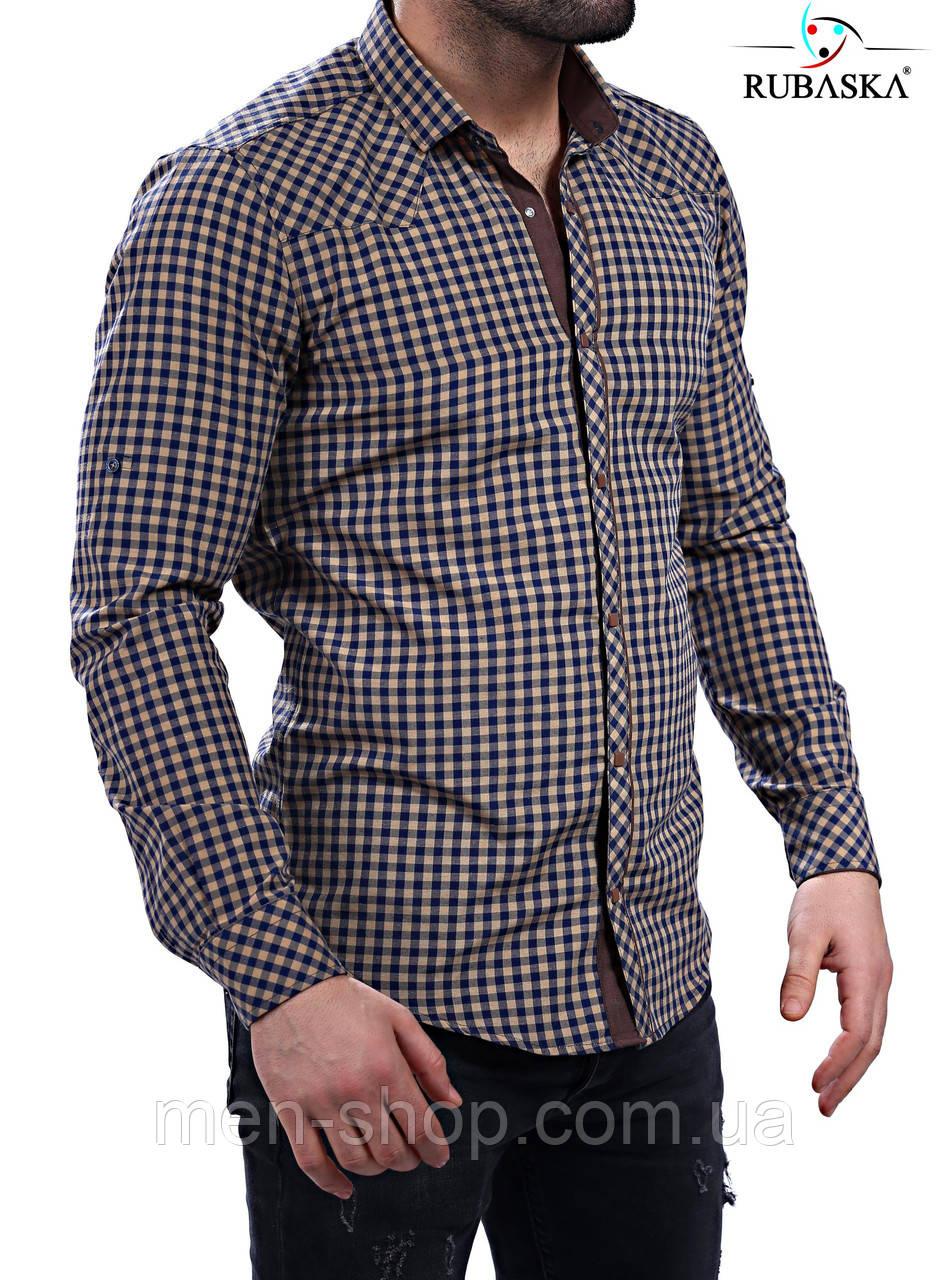Молодежная рубашка коричневого цвета в клетку