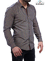 Молодежная рубашка коричневого цвета в клетку, фото 1