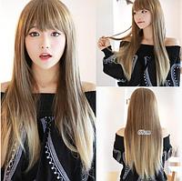 Хит продаж! Женский симпатичный парик, длинные прямые волосы с прямой челкой, омбре, синтетический парик