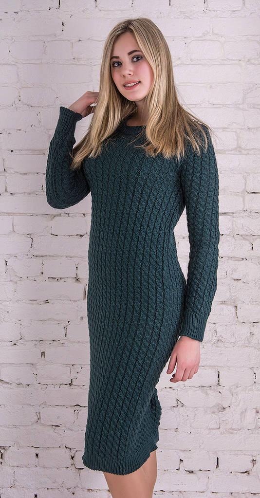 Длинное вязаное платье бутылка