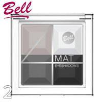 Bell - Тени для век 4-цветные матовые Mat EyeShadows Тон 02 черные, белые, серые матовые
