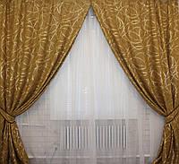 Комплект готовых штор  с люрексом, цвет горчичный  070ш