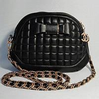 Сумка женская-клатч Шанель с бантиком через плечо чёрная