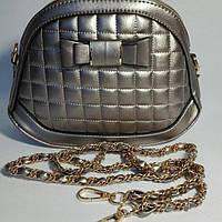 Сумка женская-клатч Шанель с бантиком через плечо бронза