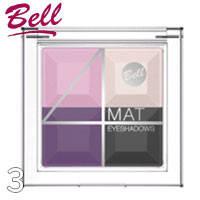 Bell - Тени для век 4-цветные матовые Mat EyeShadows Тон 03 розовые, фиолет, серые, крем матовые