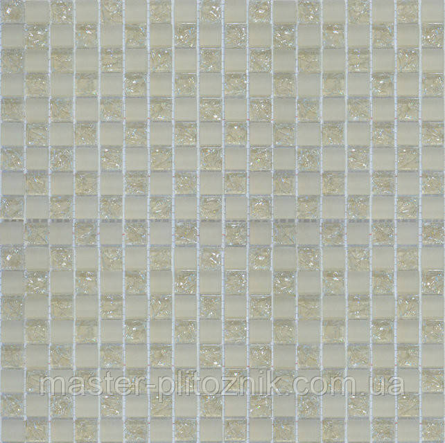 Мозайка шахматка бежевый матовый-бежевый колотый
