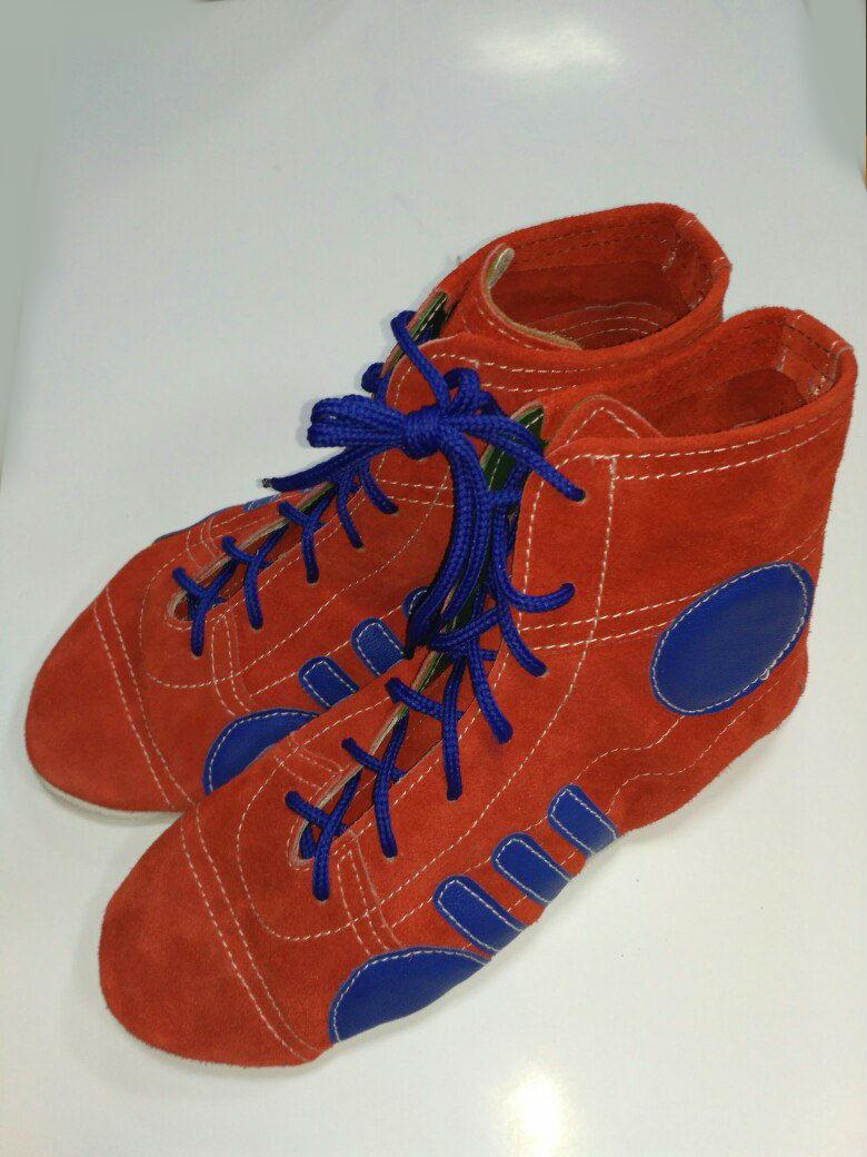 Борцовки Лерман красные с синими вставками с антискольжением р.36
