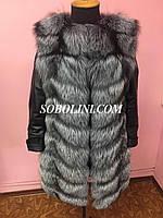 Жилет-трансформер с кожаными рукавами, меховой из норвежской чернобурки , длина 90см