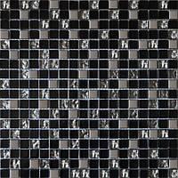 Мозайка микс черный-платина рефленый-платина