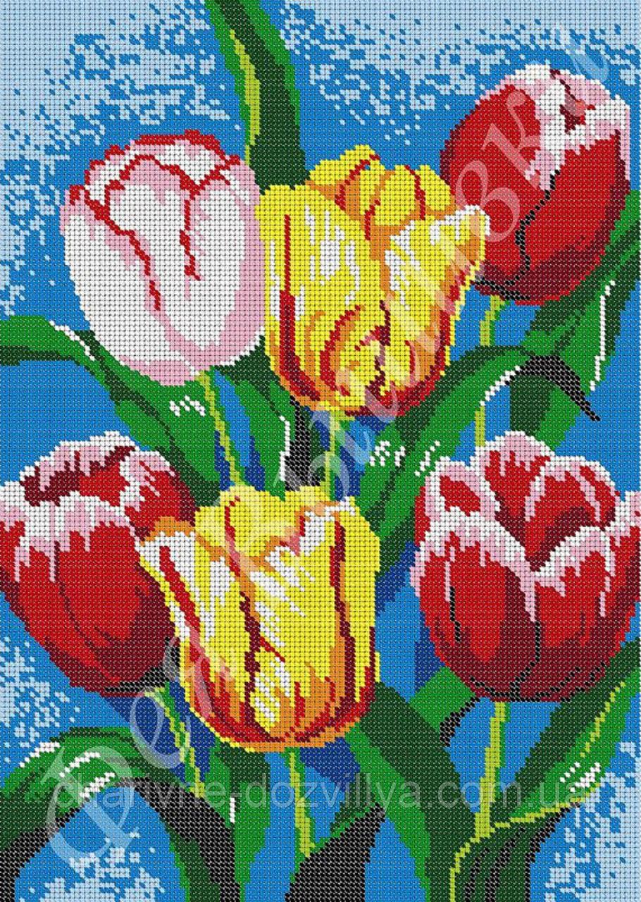 """Схема для вышивки бисером на габардине """"Тюльпаны"""" (полная зашивка)"""