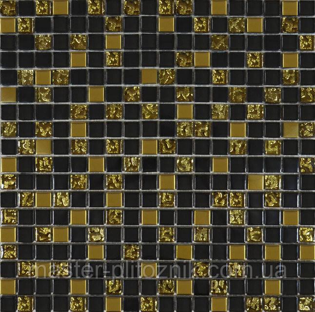 Мозайка микс черный-золото-рифленое золото
