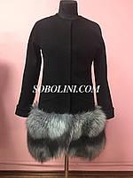 Пальто кашемир+шерсть, низ отделан мехом норвежской чернобурки, длина 80см, фото 1