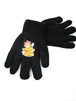 10227 Перчатки детские для девочки черный-9 лет