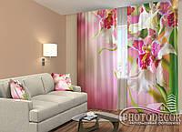 """ФотоШторы """"Пестрые орхидеи"""" 2,5м*2,6м (2 полотна по 1,30м), тесьма"""