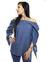 10835 Блуза синий S/M, 60% хлопок, 40% полиэстер., Новое
