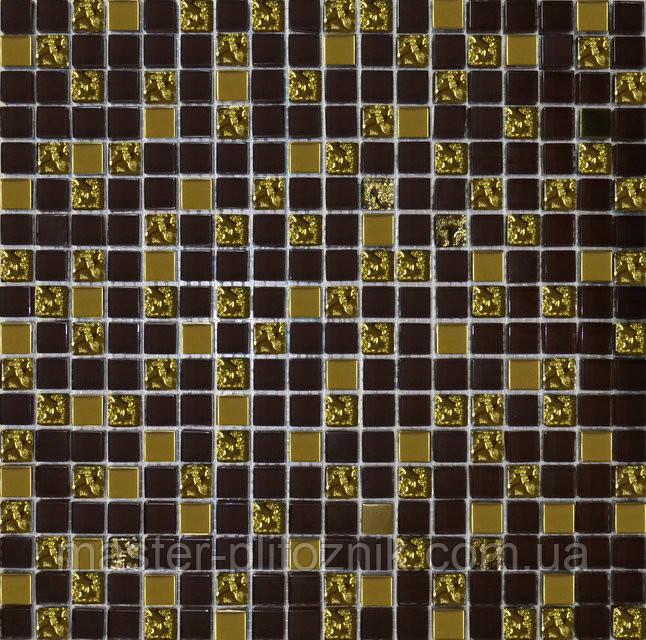 Мозайка микс шоколад-золото-рифленое золото