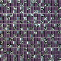 Мозайка микс фиолетовый-платина-рефленая платина
