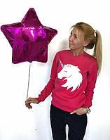 Свитшот женский Белый Единорог, материал - двунить, цвет - розовый