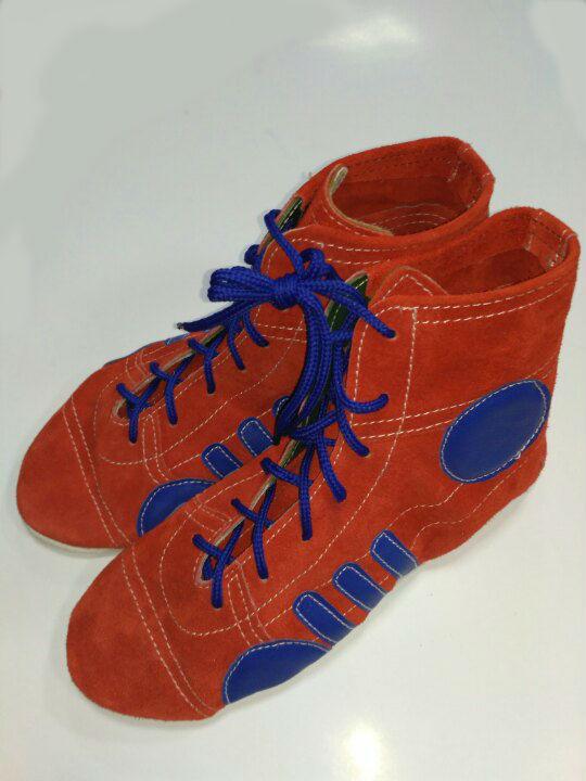 Борцовки Лерман красные с синими вставками подошва замш р.36