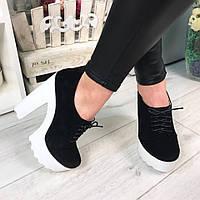 Женские ботинки натуральный замш, черного цвета, / женские ботильоны на  шнурочках