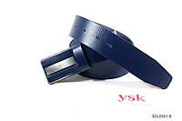 Ремень мужской со вставкой,натуральная кожа,синий,Турция